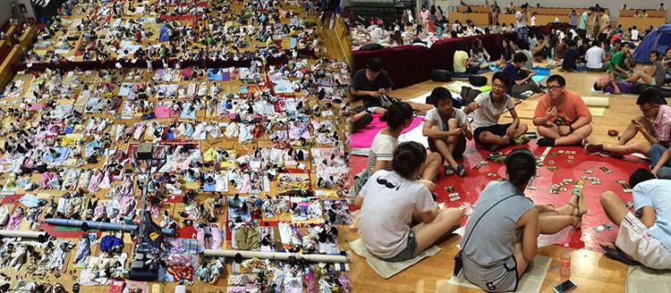 千名大学生体育馆避暑过夜 终于可以和女神同睡一屋了